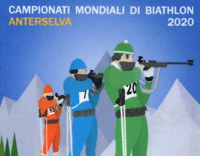 """POSTE ITALIANE * BIATHLON 2020: « EMESSO DAL MINISTERO DELLO SVILUPPO UN FRANCOBOLLO ORDINARIO APPARTENENTE ALLA SERIE TEMATICA """"LO SPORT"""" »"""