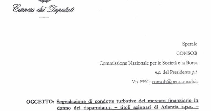 LEGA * AUTOSTRADE PER L'ITALIA - ASPI: « ESPOSTO ALLA CONSOB PER TURBATIVA DI MERCATO SU TITOLI ATLANTIA, I PICCOLI RISPARMIATORI VANNO TUTELATI » (ALLEGATO PDF)