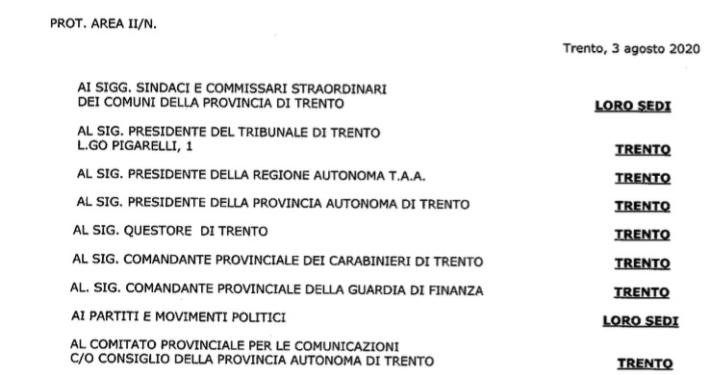 COMMISSARIATO GOVERNO - TRENTO * CONSULTAZIONI ELETTORALI E REFERENDARIE: « LA NOTA COMMISSARIALE / PROPAGANDA ELETTORALE 20 E 21 SETTEMBRE 2020 » (ALLEGATO ORIGINALE PDF)