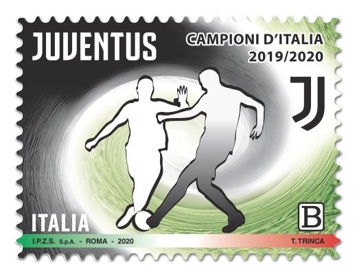 """POSTE ITALIANE * SERIE TEMATICA """"LO SPORT"""": « EMISSIONE FRANCOBOLLO SQUADRA VINCITRICE CAMPIONATO CALCIO SERIE A, SULLO SFONDO I COLORI SOCIALI DELLA JUVENTUS FOOTBALL CLUB »"""