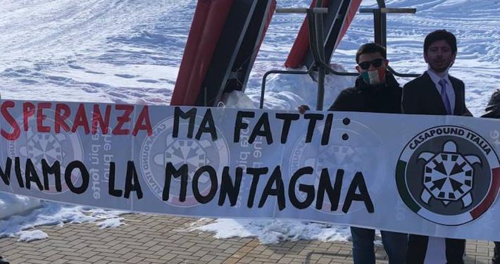 CASAPOUND TRENTINO * STRISCIONI NELLE LOCALITÀ SCIISTICHE ITALIANE: « NON SPERANZA MA FATTI, SALVIAMO LA MONTAGNA »