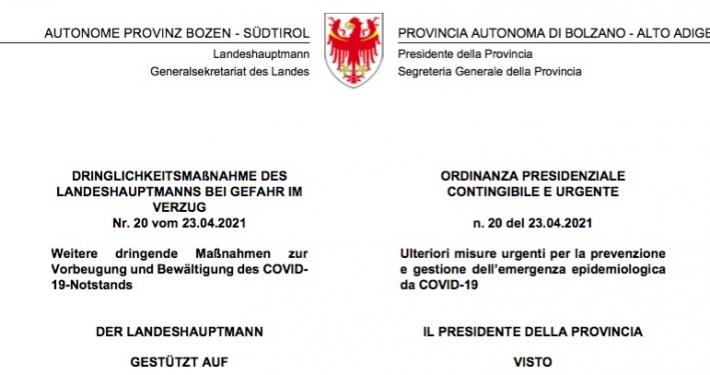 PROVINCIA AUTONOMA BOLZANO * COVID-19: « KOMPATSCHER FIRMA LA NUOVA ORDINANZA PER LE RIAPERTURE DAL 26 APRILE » (IN ALLEGATO DECRETO PDF)