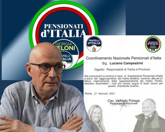 """FRATELLI D'ITALIA - GIORGIA MELONI * NOMINE TERRITORIALI: « """"PENSIONATI D'ITALIA """", LUCIANO CAMPESTRINI È IL NUOVO DELEGATO PROVINCIALE PER IL TRENTINO »"""