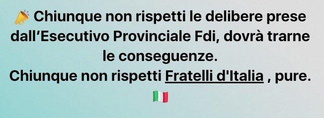 SEN. DE BERTOLDI* MESSAGGIO FB: « CHIUNQUE NON RISPETTI LE DELIBERE DELL'ESECUTIVO PROVINCIALE FDI DOVRÀ TRARNE LE CONSEGUENZE, CHIUNQUE NON RISPETTI FRATELLI D'ITALIA PURE.
