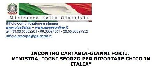 MINISTERO GIUSTIZIA * INCONTRO CARTABIA - GIANNI FORTI (ZIO DEL DETENUTO USA): IL MINISTRO, « OGNI SFORZO PER RIPORTARE CHICO IN ITALIA »