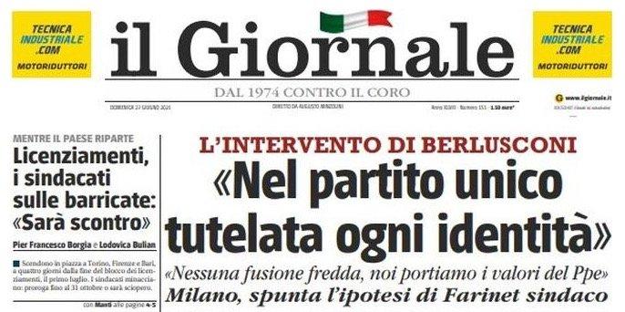 """FORZA ITALIA - STAFF PRESIDENZA * INTERVENTO SU """"IL GIORNALE"""" * PRESIDENTE BERLUSCONI, « PARTITO UNICO CENTRODESTRA, NESSUNA FUSIONE FREDDA NOI PORTIAMO I VALORI DEL PPE »"""
